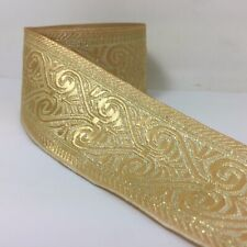 Amazing Gold handmade Woven Jacquard ribbon 2 inch wide - selling by the yard