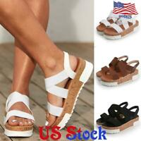 Women's Chunky High Heel Sandals Open Toe Summer Casual Slip On Solid Shoes US