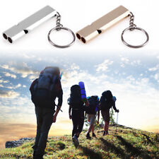 Double Pipe High Decibel Camping Outdoor Emergency Survival Whistle  Keychain