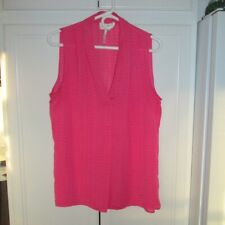 Shelli Segal laundry Hot PINK Draped sleeveless high low TUNIC vest blouse TOP L