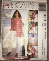 McCall's Sewing Pattern Women's Jacket Top Pant Shorts 3651 Sz 16-18-20-22 Uncut