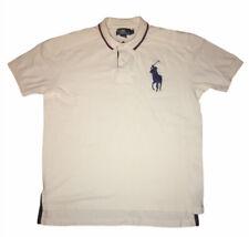 Polo Ralph Lauren Big Embroidered Blue Pony White Short Sleeve  Shirt Mens Sz L