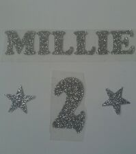Hotfix iron-on transfer silver glitter name 10cm long  +2 star and number
