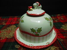 """Zrike """"Not a Creature was Stirring"""" Christmas CHEESE DOME W LID"""