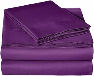 Purple Solid Attached Waterbed Sheet 1000 TC 100% Cotton With POLE Attachment