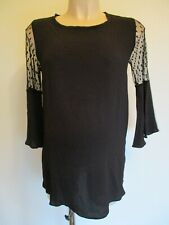 DOROTHY PERKINS MATERNITY BLACK LACE SLEEVE BLOUSE TUNIC TOP SIZE 10