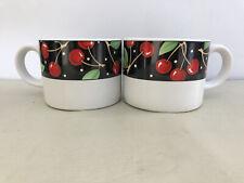 Set Of 2 Sakura Mary Engelbreit 'Cherries' Tea/Coffee Cups Mugs 8 oz.