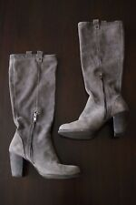 UGG Boots AVA Tall Knee High Heel Suede Nightfall Gray Womens Sz 8.5 Water Resis