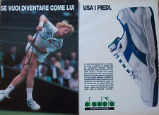 Pubblicità Advertising Werbung Italian 1990 SCARPE DIADORA BJORN BORG TENNIS