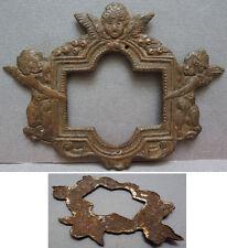 Petit cadre plaque en fer repoussé angelot ange 18e siècle frame angel