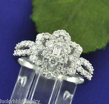 1.25 ct 18k Solid White Gold Rosita Ladies Natural Diamond Ring Cluster Cocktail