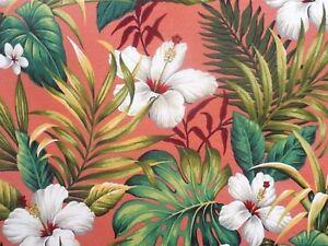 Thick! Tropical Hawaiian Cotton Barkcloth Fabric VALANCE ~Hibiscus Garden-Coral~