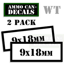 9 x 18mm Ammo Decal Can Box Sticker bullet ARMY Gun safety Hunting 2 pack WT