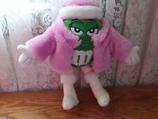 "2003  11"" Green M&M  Plush Tags Candy M & M PINK PARKA PILL BOX HAT"