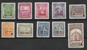 Venezuela: 1947, Scott C403-C412, SPECIMEN, no gum. EBV120