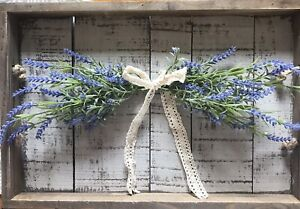 Farmhouse English Lavender Swag With Cream Ivory Bow- Faux Lavender Swag