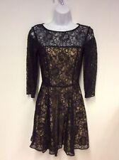 ARMANI EXCHANGE BLACK NUDE LINED BLACK LACE DRESS SIZE UK 4