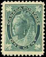 Canada #67 mint F-VF OG NH 1897 Queen Victoria 1c blue green Maple Leaf..