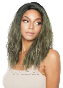 RCP7001 MISTY | BLACK/BROWN/GREEN | WAVY SWISS LACE FRONT WIG | MANE CONCEPT
