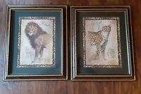 "Home Interiors Framed Cheetah & Lion Safari Print by J.Gibson 16.25""  x  13.5"""