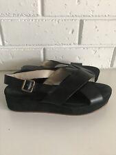 GORMAN black Leather Buckle Sandals Strap Flatform 38 shoes