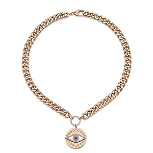 Diamond Sapphire All Seeing Eye Chain Link Disc Necklace 14k Rose Gold Natural