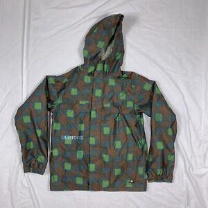 Burton Dry Ride Ski Snow Jacket Geometric Brown Green Size XS