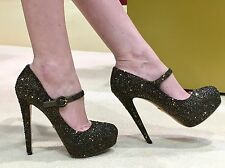 PRADA Swarovski Strass Bronze Crystal Mary Jane Heels Pumps Shoes 37 7