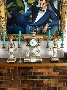 Louis Xvi French Marble Clock Wedgwood