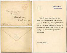 GB 1906 primer ministro Campbell Bannerman Carta + Env. oficial pagado Downing St
