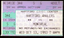 Ticket Hockey Hartford Whalers 1993 10/13 Montreal Canadiens