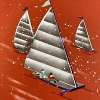 Vintage Early Mid Century Christmas Greeting Card Iceboat Sailing On Ice Winter