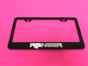 RANGER BLACK Powder Coated Metal License Plate Frame Tag Holder w/Screw caps