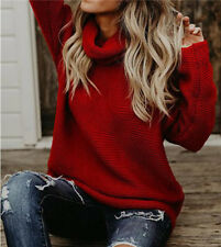 Women 's Solid Loose Sweaters Turtleneck Knitted Pullovers Coat Casual Tops US