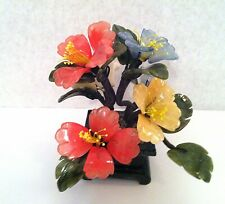 1 pc of handcrafted Jade and glass flower Bonsai Tea Tree and Flower Basket