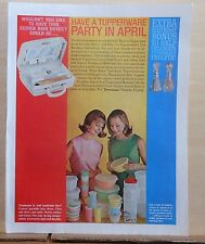 1963 magazine ad for Tupperware - Have a Party in April, win hairdryer, cruets