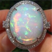925 Silver Ring Woman White Fire Opal Moon Stone Wedding Engagement Size# 6-10