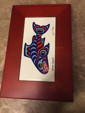 Wood Jewelry Storage Box Organizer Case Treasure Trinket Chest Fish 10x7