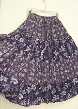 4 Tiered BLUE & White FLORAL 100% COTTON Hippie Peasant Broomstick Skirt L