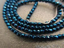 Hematite Blue Metallic Electroplated Faceted Round 2mm Beads 16 Inches