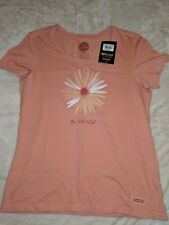 Nwt! Life Is Good Womens Small Pink Beautiful Daisy Crusher V Neck T Shirt