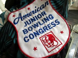 """AMERICAN JUNIOR BOWLING CONGRESS - Vtg 60s LARGE 6x8"""" Jacket Patch"""