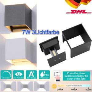 7W Wandleuchte Cube LED Wand Leuchte Dimmbar Lampe Up Down für Außen/innen IP65