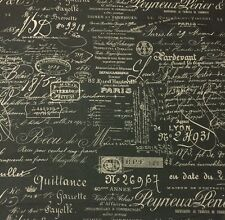 "BALLARD DESIGNS DOCUMENT GRAY CHARCOAL FRENCH SCRIPT FABRIC REMNANT 26""L X 55"" W"