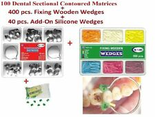 100 Dental Contoured Matrices Matrix Add On Wedges Fixing Wooden Wedges