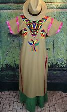 Hand Embroidered Huipil Dress Roosters Huazolotitlan Oaxaca Mexico Hippie Boho
