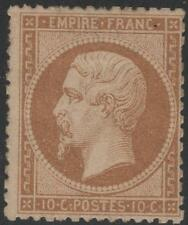 "FRANCE  STAMP TIMBRE N° 21 b "" NAPOLEON III 10c  BISTRE - BRUN "" NEUF x  K296"