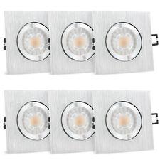 6er Set QW-2 Einbauspots dimmbar Bad & Außen IP44 Alu eckig LED GU10 7W warmweiß