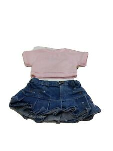 Build a Bear Jean Skirt with Pink short sleeve Shirt Clothing