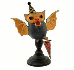 ESC Jorge Rojas Orange Black Bram Bat Boo Vntg Style Halloween Figurine Decor